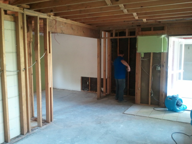 Interior water damage tearout