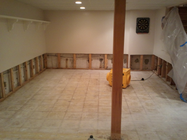 Drywall, insulation and carpet removed due to sump pump failure.