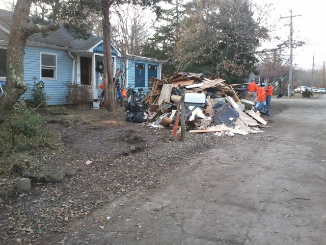 Personal belongings, drywall, insulation and flooring damaged by flood waters