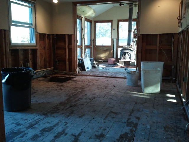 Drywal, insulation and 3 layers of flooring had to be removed due to 2' of water