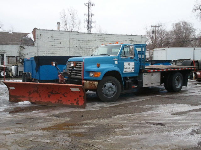 Ford Stake Dump with 10' Snowplow for larger lots.