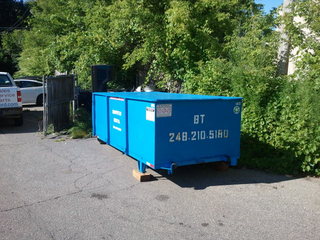 Sealed and lockable 10 yard rolloff for secure scrap recycling.