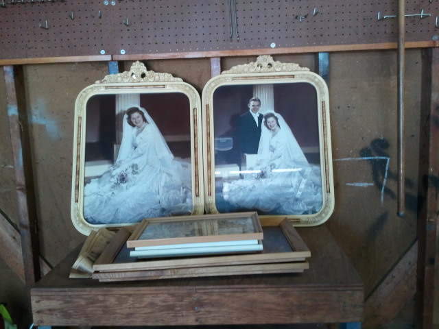 Vintage wedding photos and father's World War 2 discharge papers.