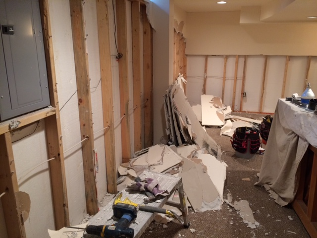 wet drywall tear-out and removal